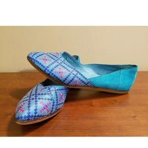 TOMS Jutti Flats Bright Blue Excellent Condition